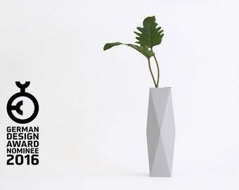 Geometrical Cardboard Vase SNUG.VASE high / grey