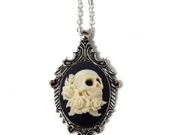 Day of the Dead Skull Cameo Necklace