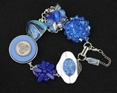 Bridesmaid Gift, Wedding Bracelet, Vintage Earring Bracelet, Reclaimed, Cluster, Cobalt, Blue, Silver, Jennifer Jones, Coupon,OOAK, Sapphire