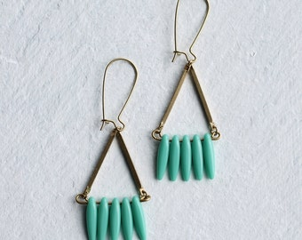 Turquoise Boho Earrings ... Vintage Glass Industrial Geometric