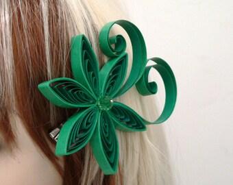 Emerald Wedding Hair Accessory, Emerald Green Flower Hair Clip