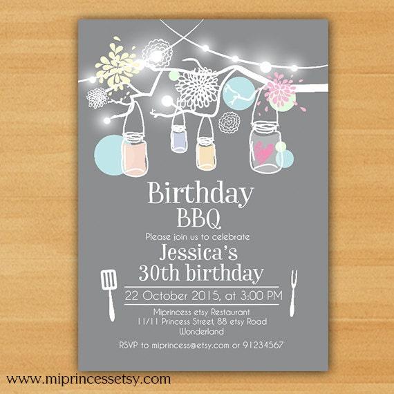 Birthday Party Invitation Birthday BBQ Backyardkids Adult