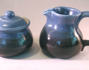 Sugar Bowl and Cream Pitcher Breakfast Set - Denim Jeans Blue and Black - Handmade Pottery