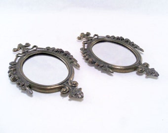 Ornate Victorian Style Mirrors w/ Metal Frames Set of Two Vintage 60s #242-3