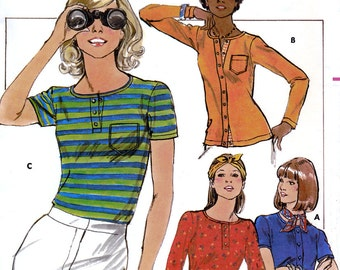 Butterick 4932 Vintage 70s Misses' T-Shirt Sewing Pattern - Uncut - Size 8