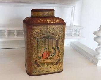 Large Vintage French Tea Tin