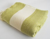 Shipping with FedEx - Diamond - Sofa throw, Traditional, Beach blanket, Tablecloth, Bedcover - Bathstyle - SOFT - Olive Green