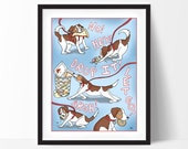 Beagle Art Print, Dog Art, 11x14, Dog Illustration, Dog Wall Art, Funny Poster
