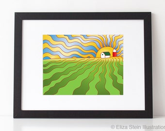 Iowa Cornfield Art Print, 9x12, Abstract, Landscape, Farm, Poster, Illustration, Fall