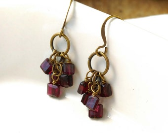 Faceted, Square, Garnet, Antiqued Brass Gemstone Earrings