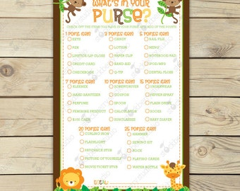 Safari Baby Shower What's In Your Purse Game - Jungle Baby Shower Games Printable - Baby Shower Ideas - Instant Download - Shower Activities