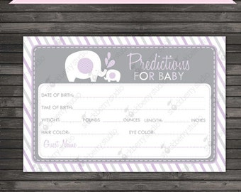 Lavender Elephant Baby Shower Baby Predictions Card - Girl Elephant Baby Shower Games Printable - Instant Download - Baby Statistics Game
