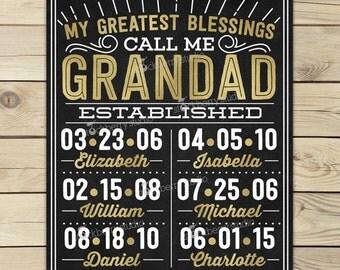 Grandad Father's Day Wall Art  Personalized - Grandpa Father's Day - Grandfather Gift - Gift From Grandkids - Grandchildren Name Chalkboard