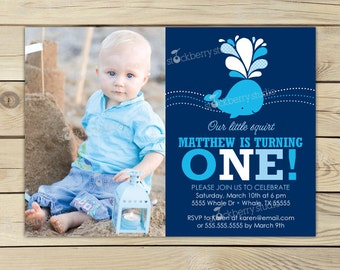Whale Birthday Invitation Printable - Whale 1st Birthday - Navy Blue Whale Birthday Party - Whale Invitation - Nautical Birthday Invitation