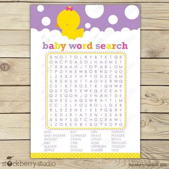 search game purple baby shower game printable crossword puzzle