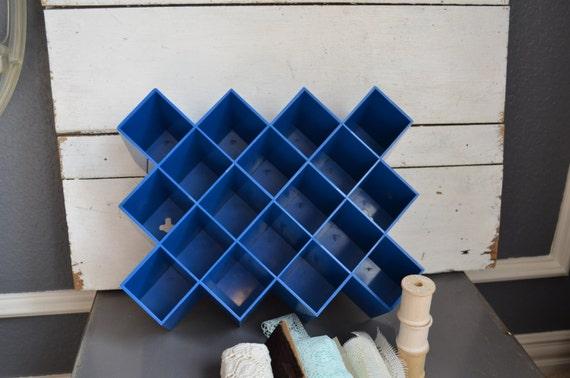 Blue Storage Wall Shelf Vintage Plastic Organizer By