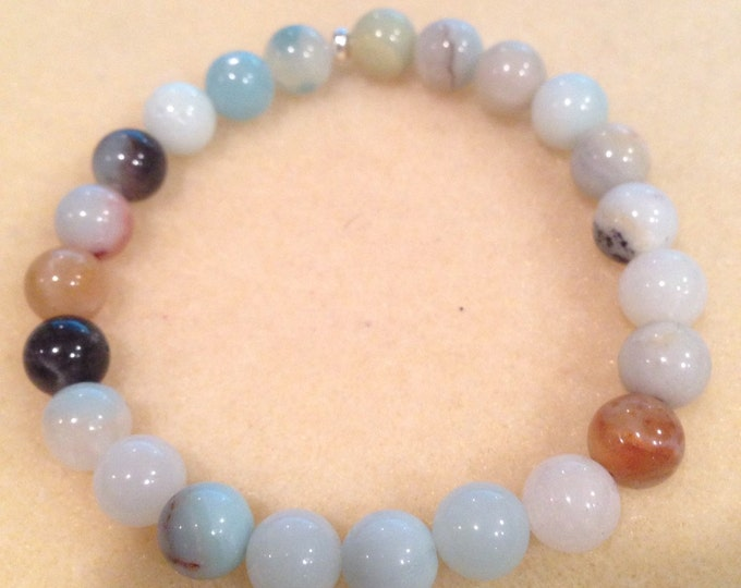 Amazonite 8mm Round Bead Stretch Bracelet with Sterling Silver Accent