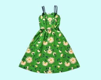 1970s Green Daisy Sun Dress Size S
