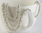Byzantine Choker or Necklace, thinner Chainmaille necklace, Argentium Sterling Silver, Hand made, Toggle, Lobster clasp Custom made