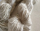 White undyed handspun banana silk yarn. 50 grams. Art yarn. Knitting yarn. Fibre art supplies. Unique handmade yarn supplies.
