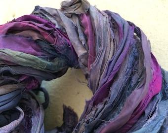 Silk sari ribbon, 5 yards, muted plum, upcycled ribbon yarn, jewellery bracelet making yarn, knitting ribbon, art yarn.