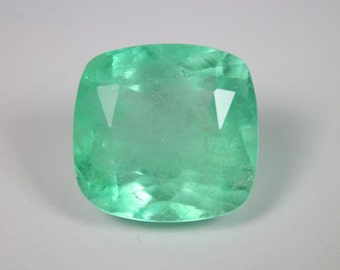 Majestic! 14.92cts Loose Natural Colombian Emerald ~ Cushion Cut