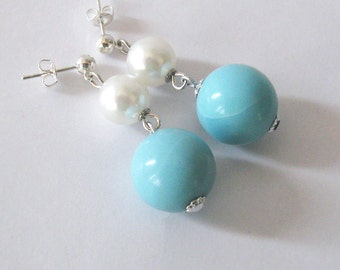 Upcycled Vintage Bead Earrings, 1950s Aqua Blue, White Pearl, Hypoallergenic Posts or Clips
