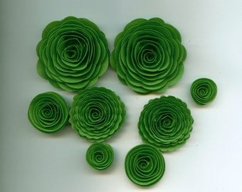 Golf Course Green Handmade Rose Spiral Paper Flowers Use on Projects, Decor, Crafts