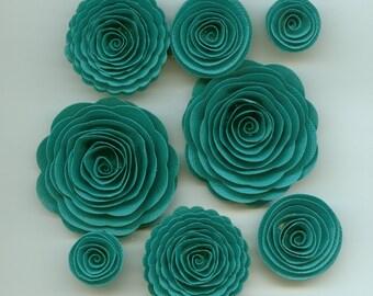 Polar Ice Handmade Spiral Rose Paper Flowers Teal Tone