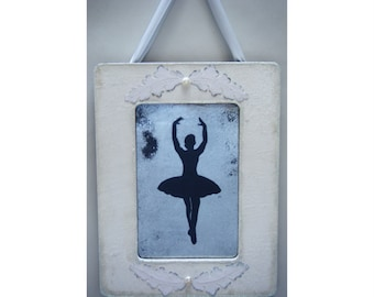 Ballet Dancer White Antiqued Mirror Shabby Chic Vintage Cottage Decor French Country Dancer Ballerina Dance Gift Recital