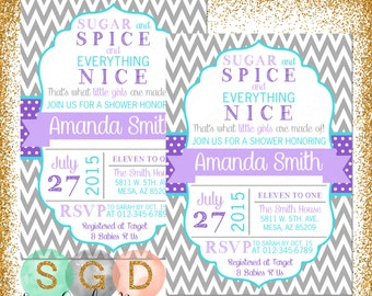 Girl Baby Shower Invite   Sugar And Spice Shower Invite Chevron Baby Shower  Invite Purple Teal