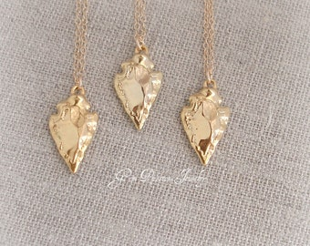 Gold Arrowhead Necklace, 18k gold Vermeil Arrowhead, 14k Gold Filled Chain, Arrow Necklace, Boho Chic Style, Follow your Arrow, Petite