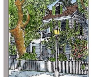 Audubon House Key West Original Watercolor by JZ