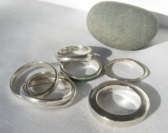 5 Silver Rings Vintage Mexican Silver .925 Sterling