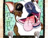 Pop Art Pitbull Leash Hook 8x8x1.5