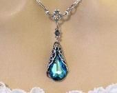 Blue Victorian Necklace: Victorian Bridesmaid Necklace, Blue Victorian Swarovski Crystal Necklace, Victorian Jewelry, Victorian Wedding