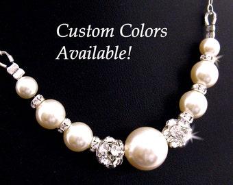 Pearl Bridal Necklace, Pearl Wedding Jewelry, Custom Color Rhinestone Pearl Bridesmaid Necklace Swarovski Jewelry Gift