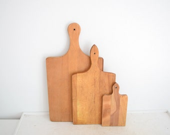 Three Vintage Wood Cutting Boards with Hanging Handles - Bread Boards - Primitive