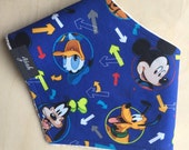 Bandana Bib in 'Mickey Mouse and Friends' Printed Cotton, Dribble Bib, Baby Boy