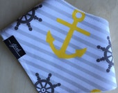 Bandana Bib in Yellow & Gray Nautical Cotton, Dribble Bib, Baby Girl