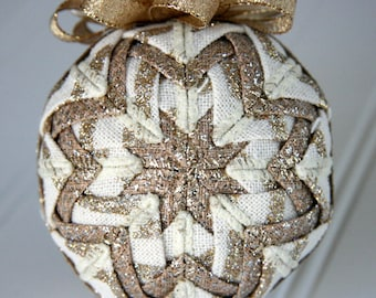 Quilted Christmas Ornament Ball/Gold and Cream - Gilded Delight
