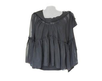 Black blouse/long sleeve shirt/Ruffle cascade top/Long sleeve shirt/wide neck/Off shoulder/adjustable bow