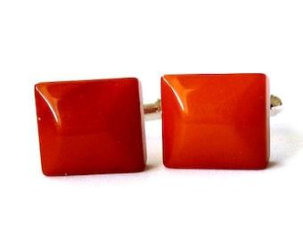 Baltic Amber Cufflinks Antique Squared Caramel Natural 925 silver