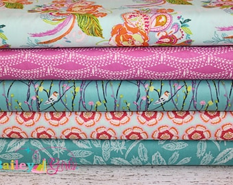Petal and Plume Fabric Bundle by Bari J for Art Gallery Fabrics 1 yard bundle, 5 prints, 5 yards total