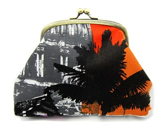 Palm Tree Kiss Lock Clutch Coin Purse Wallet Gift for Women Purple Orange Red Building Black White Gold Metal Double Frame