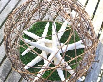 "Beach Wedding Centerpiece- Starfish Grapevine Kissing Ball, Rustic Nautical Wedding Decor, Flower Bouquet Alternative, XL 10"" Pomander"