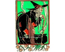 """WITCH'S CAULDRON  handmade wood wooden jigsaw puzzle  8.25"""" x 12.5""""  125-175 pieces"""