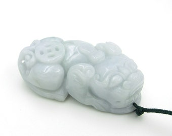 Lucky Pi-Xiu Dragon Natural Jadeite Amulet Pendant Figurine 44mm*23mm*15mm  Cy156