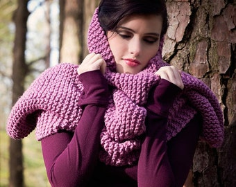 wild orchid handknit shawl, over sized shrug, long wide hooded scarf, 3 in 1 womens knitwear