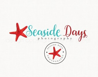 Starfish Logo Design Premade Logo Design Nautical Logo Design Beach Logo Design Bespoke Logo Design Photography Logo Design Watercolor Logo